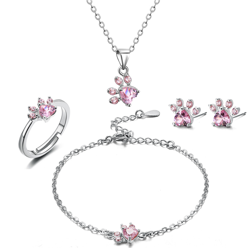 4 Pcs Pink Silver Plated Necklace Bracelet Earring Ring Set